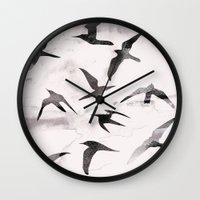 flight Wall Clocks featuring Flight by Georgiana Paraschiv