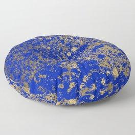 Royal Blue and Gold Patina Design Floor Pillow