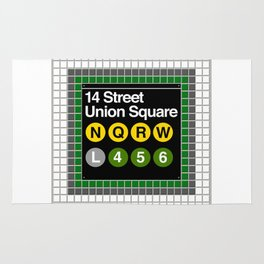subway union square sign Rug