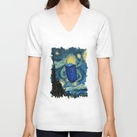 marauders V-neck T-shirts featuring Tardis Dr. Who Starry Night by neutrone