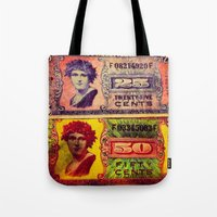 military Tote Bags featuring WWII US Military Money by Amber Dawn Hilton