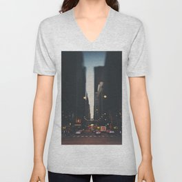 sunset in the city ... Unisex V-Neck