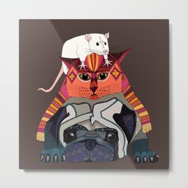 mouse cat pug chocolate Metal Print
