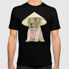 Shar Pei on the Great Wall (China) Black X-LARGE Mens Fitted Tee