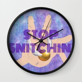 """Stop Golden Snitchin'"" Print Purple 1/2 Wall Clock"