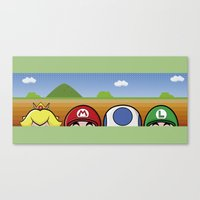 mario bros Canvas Prints featuring Mario Bros by Bazingfy