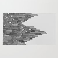 buildings Area & Throw Rugs featuring Buildings & Mountains  by parallelish