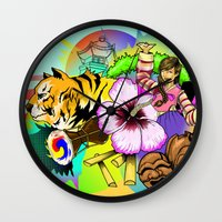 korea Wall Clocks featuring A Taste of Korea by J. Lee