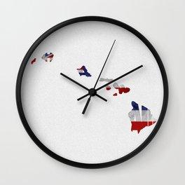 Hawaii Typographic Flag Map Art Wall Clock