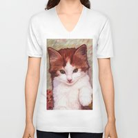 copper V-neck T-shirts featuring Copper kitten by Michelle Behar
