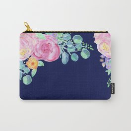 light pink peonies with navy background Carry-All Pouch