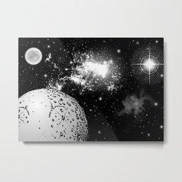 Space travelers #5 - Black/White Watercolor Metal Print