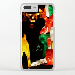 santa and rudolf Clear iPhone Case