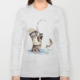 """"""" Natures Fisherman """" fishing river otter with trout Long Sleeve T-shirt"""