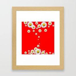 CHINESE RED WHITE DAISIES MODERN ART Framed Art Print