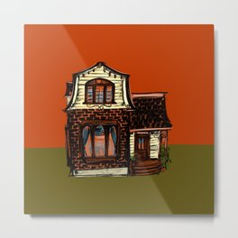 Tiny House in Rust and Yellow Metal Print