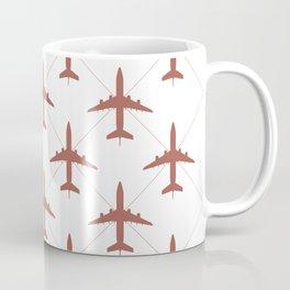 Coral Pink Airplanes Flying Pattern Coffee Mug