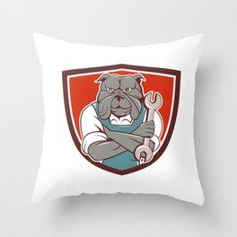 Bulldog Mechanic Arms Crossed Spanner Crest Cartoon  Throw Pillow