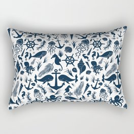 Nautical Silhouettes (Navy Blue on White) Rectangular Pillow
