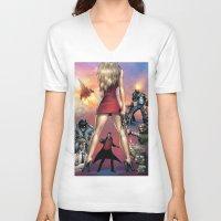 robin hood V-neck T-shirts featuring Dracula vs. Robin Hood vs. Jekyll & Hyde by Eco Comics