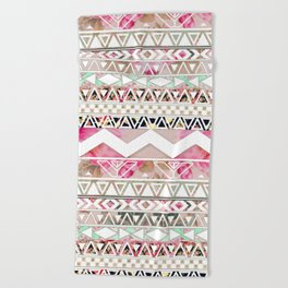 Aztec Spring Time! | Girly Pink White Floral Abstract Aztec Pattern Beach Towel