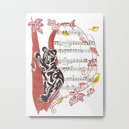 Ursari (Bear in a copper tree with leaves in the wind on sheet music) Metal Print