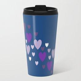 Asymmetrical hearts (blue, lavender & purple) Travel Mug