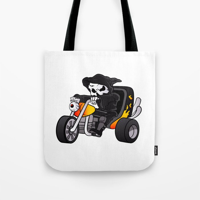 skull ride a big tricycle Tote Bag