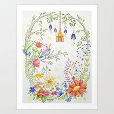 garden and bird Art Print