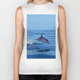 Spotted dolphin jumping in the Atlantic ocean Biker Tank