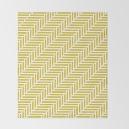 Herringbone 45 Yellow Throw Blanket