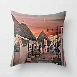 Night time in Alberobello Throw Pillow