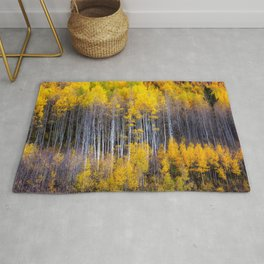 Autumn Aspens - Rows of Colorado Aspen Trees with Autumn Color in Reflection Illusion Rug