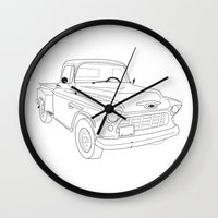truck Wall Clocks featuring 1955 Truck by Yellow Chair Design