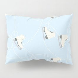 Ice Skating on Ice Blue Background Pillow Sham