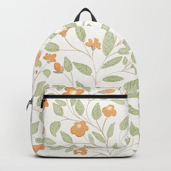 Spring Orange Floral Pattern Backpack