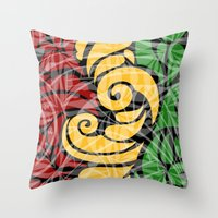 rasta Throw Pillows featuring Rasta Colors by Lonica Photography & Poly Designs