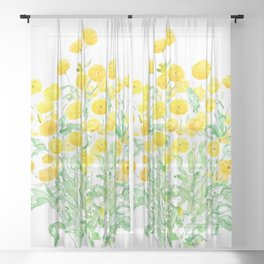 yellow florist daisy bunches watercolor  Sheer Curtain