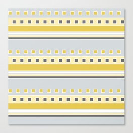 Squares and Stripes in Yellow and Gray Canvas Print