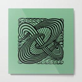 Art Nouveau Swirls in Sage Green Metal Print