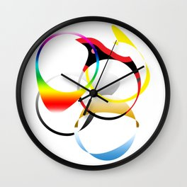 Colorful Joy  abstract geometrical art Wall Clock