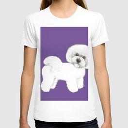 Bichon Frise dog on Ultraviolet, 2018 Bichon , Year of the dog, Pantone Ultraviolet T-shirt