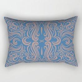 Vintage Ornaments Blue Rectangular Pillow