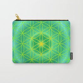 Flower Of Life Mandala - Green Carry-All Pouch