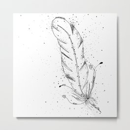 Feather Black and White Art Illustration Metal Print