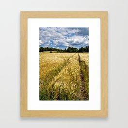 Golden wheat field poetry Framed Art Print