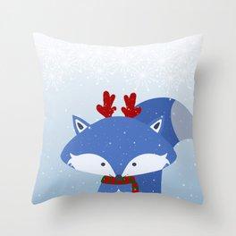 Cute Fox Wintery Holiday Design Throw Pillow
