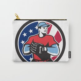 American Baseball Pitcher USA Flag Icon Carry-All Pouch