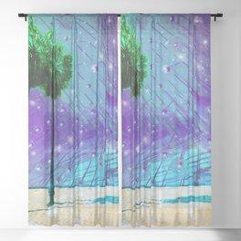Venice Vaporwave Beach Meteor Light Show Sheer Curtain