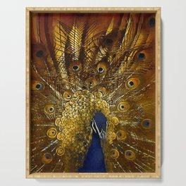 Golden Peacock Serving Tray